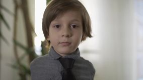 Retrato do menino sério pequeno bonito com traje de cerimônia em sua posição do pescoço na frente da janela com seus braços atrás vídeos de arquivo