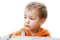 Retrato do menino sobre o branco Fotos de Stock