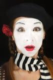Retrato do Mime com expressão surpreendida da face Fotos de Stock Royalty Free