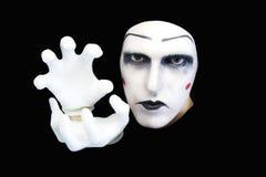 Retrato do mime nas luvas brancas fotos de stock