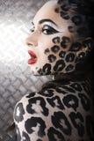 Retrato do modelo europeu novo bonito na composição e no bodyart do gato Fotografia de Stock