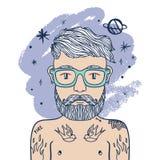 Retrato do moderno ocasional à moda considerável do homem com barba e tatuagens Ilustração do estilo da garatuja do esboço imagens de stock