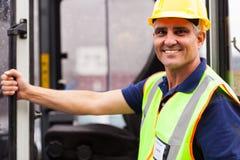 Retrato do motorista da empilhadeira Imagens de Stock
