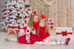 Retrato do Natal de dois amigos de sorriso das irmãs das meninas bonitos beautyful e da árvore branca verde luxuosa do xmas no es Imagens de Stock Royalty Free
