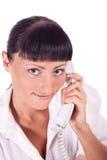 Retrato do operador de sorriso feliz do telefone da sustentação imagem de stock