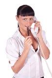 Retrato do operador de sorriso feliz do telefone da sustentação foto de stock