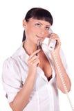 Retrato do operador de sorriso feliz do telefone da sustentação fotografia de stock royalty free