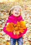 Retrato do outono da menina de riso bonito com folhas de bordo fotografia de stock royalty free