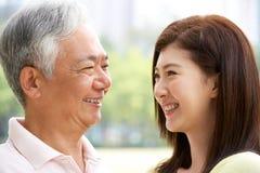 Retrato do pai chinês com filha adulta Imagem de Stock
