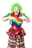 Retrato do palhaço fêmea alegre Fotografia de Stock Royalty Free