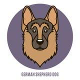 Retrato do pastor alemão Dog Ilustração do vetor no estilo de Foto de Stock Royalty Free