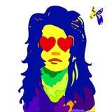 Retrato do pop art da mulher nova da forma ilustração do vetor
