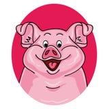 Retrato do porco no fundo branco ilustração royalty free
