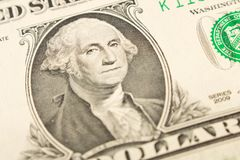 Retrato do presidente George Washington em 1 nota de dólar fim fotos de stock royalty free