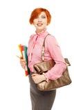 Retrato do professor fêmea engraçado que guarda dobradores e isolado do saco fotos de stock