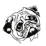 Retrato do pug ilustração stock