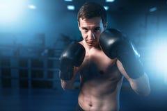 Retrato do pugilista muscular em luvas pretas Fotos de Stock Royalty Free