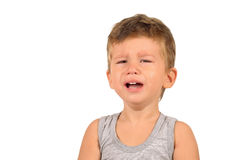 Retrato do rapaz pequeno de grito Fotografia de Stock