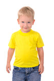 Retrato do rapaz pequeno elegante na camisa amarela fotos de stock royalty free