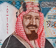 Retrato do rei Saud Bin Abdulaziz de Arábia Saudita em 20 riyals de bankn Fotografia de Stock Royalty Free