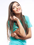 Retrato do retrato ocasional da mulher de Yong, sorriso, modelo bonito Fotografia de Stock Royalty Free