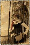 Retrato do Sepia com bordas queimadas (serie da menina do pirata) Fotos de Stock Royalty Free