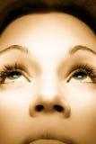 Retrato do Sepia da menina bonita com olhos verdes imagens de stock royalty free