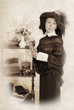 Retrato do Sepia da mulher foto de stock royalty free