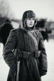 Retrato do soldado de exército vermelho Pequim, foto preto e branco de China Foto de Stock