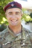 Retrato do soldado Wearing Uniform imagem de stock
