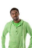 Retrato do sorriso alegre afro-americano do homem negro isolado no branco Imagem de Stock