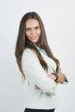 Retrato do sorriso novo bonito da mulher de negócio, Imagem de Stock