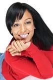 Retrato do sorriso novo da mulher preta Imagens de Stock Royalty Free