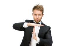 Retrato do tempo do gerente que gesticula para fora Foto de Stock