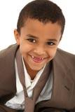 Retrato do terno e do laço do pai desgastando do menino Foto de Stock Royalty Free