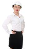 Retrato do trabalhador fêmea confiável no capacete Imagem de Stock Royalty Free