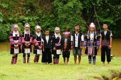 Retrato do tribo do monte de Akka fotografia de stock