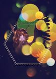 Retrato do unicórnio com bokeh amarelo Fotos de Stock