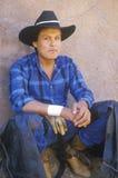 Retrato do vaqueiro, rodeio indiano cerimonial intertribal, Gallup nanômetro fotografia de stock