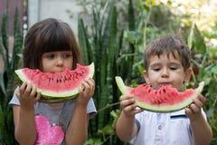 Retrato do verão de duas crianças crianças de sorriso exteriores criança de sorriso feliz que come a melancia no parque fotos de stock