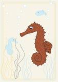 Retrato do vetor com seahorse Fotografia de Stock