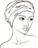 Retrato do vetor da mulher afro-americano no lenço imagens de stock royalty free