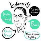 Retrato do vetor de Howard Phillips Lovecraft com citações Imagens de Stock Royalty Free