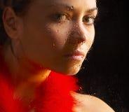 Retrato do vidro da menina Fotos de Stock Royalty Free