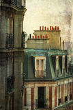 Retrato do vintage de townhouses parisienses Imagem de Stock