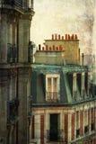 Retrato do vintage de townhouses parisienses Imagem de Stock
