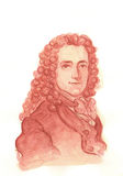 Retrato do Watercolour de Voltaire Imagem de Stock