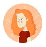 Retrato dos desenhos animados da mulher que representa Leo Zodiac Sign Imagens de Stock