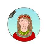 Retrato dos desenhos animados do vetor de Daniel novo ilustração stock