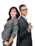 Retrato dos pares de homens de negócios isolados Imagem de Stock Royalty Free